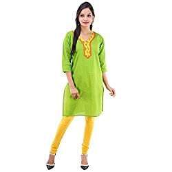Kaash Women 's Straight Kurta_VRMTE09_XL_Green