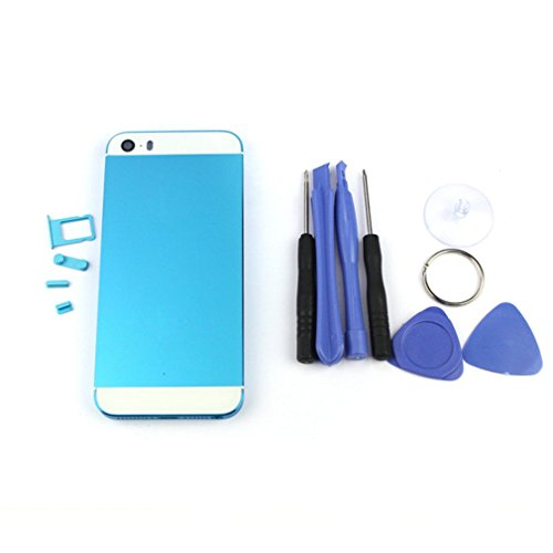POTO For iPhone 5S Metal Battery Door Housing Cover Replacement Case Tools (BLUE) (Iphone 4s Metal Housing compare prices)