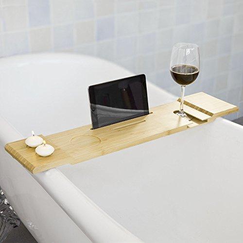 SoBuy 70cm Badewannenablage, Badewannenbrett, Halter für iPad Mini oder Handys