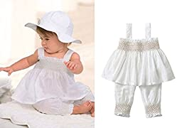 3pcs Baby Toddler Girl Ruffle Top+Pants+Hat Outfit Set 0-6 M White