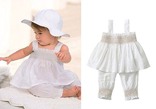 3pcs Baby Toddler Girl Ruffle Top+Pants+Hat Outfit Set 6-9 M White