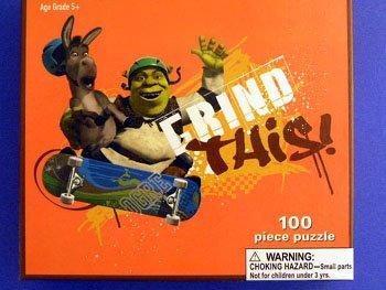 Scateboarding Shrek & Donkey Puzzle (100pc) - 1
