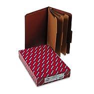 Pressboard Classification Folders, Self Tab, Legal, Eight-Section, Red, 10/Box