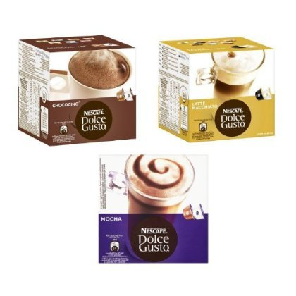 Get 2 XNescafe Dolce Gusto 3 Flavour Variety Pack (Pack of 3, Total 48 Capsules) from Nescafé Dolce Gusto