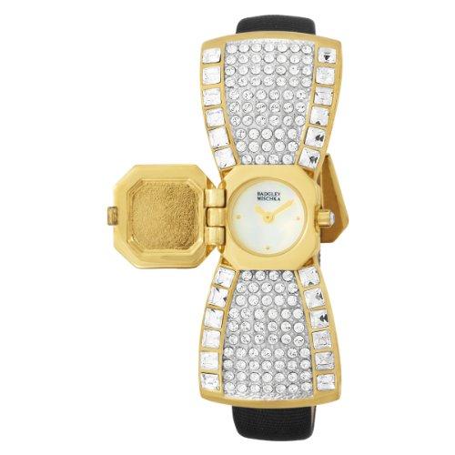 Badgley Mischka Women's BA1056MPBK Swarovski Crystal Bow Shaped Gold-Tone Dress Watch