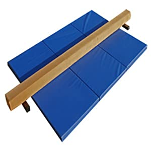 The Beam Store Tan Suede Beam and Blue Mat Combo (8-Feet) : Gymnastics