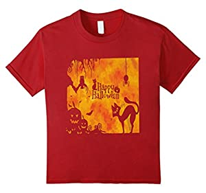 Kids HALLOWEEN SHIRT/ COSTUME: HAPPY HALLOWEEN 4 Cranberry