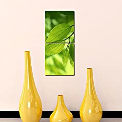 Multiple Frames Printed Leafs Wall Art Painting -2 Frames (76x25 cm)