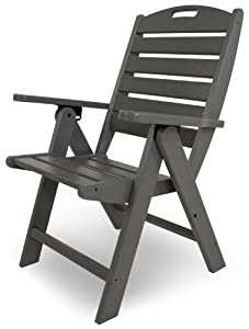 POLYWOOD NCH38GY Nautical Highback Chair, Slate Grey