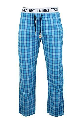 Tokyo Laundry - Herren Lange Schlafanzughosen Gebürstetes Flanell Kariert - Blaue Grotte, M