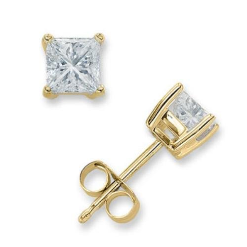 3Ct Square C.Z. Diamond Stud (.925) Silver Vermeil Plated Earring Melanie Trump