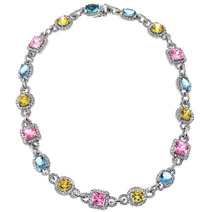 Oscars Night Out Party Necklace In Sterling Silver & C.Z.