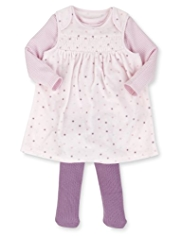 3 Piece Cotton Rich Velour Smocked Pinafore, T-Shirt & Tights Outfit