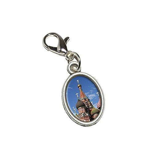 KreML St Basil's Cathedral Russland, Rot, quadratisch, mit Reißverschluss Oval Armband-Anhänger Charm-Anhänger mit Karabinerverschluss