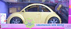 Barbie Volkswagen Beetle Vehicle (Yellow) w/ Real Key Chain (2000)