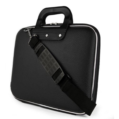 SumacLife Cady Collection Durable Semi Hard Shell Protective Carrying Case w/ Removable Shoulder Strap (Black) for Lenovo ThinkPad X131e Laptop / Lenovo IdeaPad Yoga 11 Convertible Ultrabook / Lenovo ThinkPad Helix 11.6 inch Ultrabook / Lenovo IdeaTab Lyn