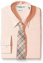Nick Graham Everywhere Men's Solid Dress Shirt with Orange Plaid Tie, Orange, Large