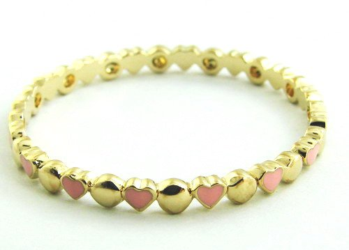 14ct Gold Plated Slip on Bangle, with alternating pink enamel hearts and gold circles, to fit ages 1 to 3 (40mm)