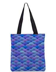 Snoogg Blue Waves In Japanese Style Designer Poly Canvas Tote Bag