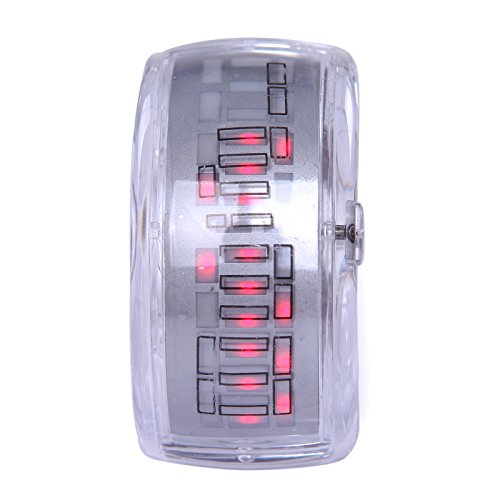 Hde Women'S Digital Red Led Display Lava Bracelet Watch With Clear Transparent Band