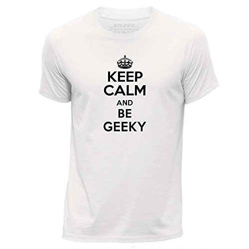 STUFF4-HombresXX-Grande-XXLBlancoCuello-redondo-de-la-camisetaKeep-Calm-Be-Geeky