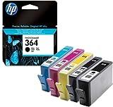 5 HP364 Original Printer Ink Cartridges - For use with HP Deskjet D5400 D5445 D5460 Photosmart B8500 B8550 B8553 B8558 C309 C309A C309G C5300 C5324 C5370 C5373 C5380 C5383 C5388 C5390 C5393 C6300 C6324 C6350 C6380 C6383 C7380 D5463 D5468 D7560 Plus B210C