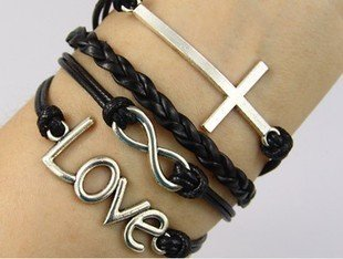 Vintage Style Black Leather Rope Cross Love Letters Infinity Love Bracelet