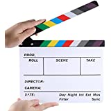 """Neewer Acrylic Plastic 10x8""""/25x20cm Dry Erase Director's Film Clapboard Cut Action Scene Clapper Board Slate with Color Sticks"""