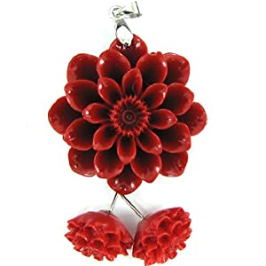 30mm synthetic coral carved chrysanthemum flower pendant earring pair red
