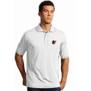 Baltimore Orioles Elite Polo Shirt (White) by Antigua