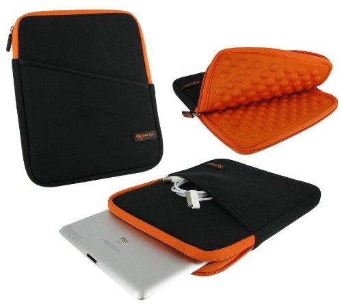 rooCASE Super Bubble Neoprene Sleeve Case Cover for Apple iPad 2 Wifi / 3G Model 16GB, 32GB, 64GB (Black / Orange)