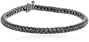 Sterling Silver and Black Diamond Tennis Bracelet (1 cttw), 7