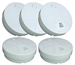 Amolido Set of 5 Smoke Alarms Photoelectric Smoke Detector with Battery by Amolido