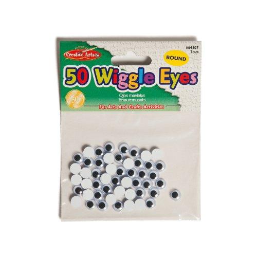 Charles Leonard Inc., Wiggle Eyes, Round, 7mm, Black, 50/Bag (64507)