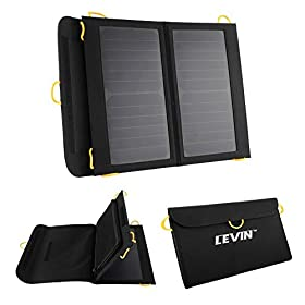 Levinu2122 Sol-Wing 13W Ultra-slim Highest Efficiency Solar Panel Portable Solar Charger Compatible with GPS Units, iPhone, iPad, Samsung, LG, Nokia, Motorola, Blackberry, eReaders, Bluetooth Speakers, Gopro Cameras, Mp4, Mp5, Andriod Tablets & All Other 5V USB Devices
