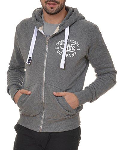 M.Conte Men Sweat Shirt Zip Felpa da Uomo Giacca Jacket Ruben Grey-Melange, Size XXL