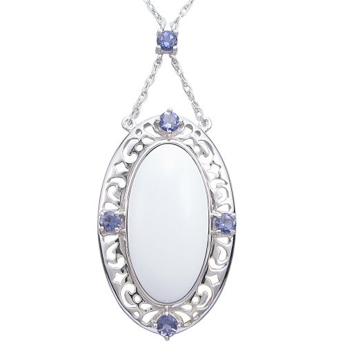 Sterling Silver White Agate and Iolite Oval Pendant Necklace, 18