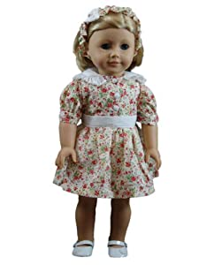 "Vintage Style Pretty Cotton Dress,Headband Fits 18"" American Girl® Doll Clothes & Accessories"