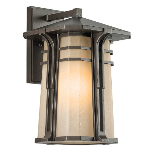 Kichler Lighting 49176Oz North Creek 16-1/2-Inch High Light Outdoor Wall Lantern, Olde Bronze With Light Umber-Etched Seedy Glass
