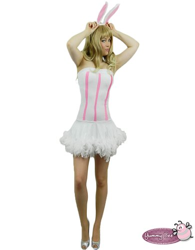 Sexy White Velvet Bunny Rabbit Fancy Dress Ladies ~ FREE STOCKINGS~ Costume Hen Party Night Pink Alice in Wonderland Easter One Size 8 10