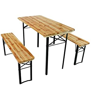 Trestle Table And Bench 3 Pc Set Wooden Folding Camping Outdoor Garden Furn