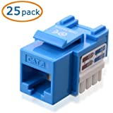 Cable Matters 25-Pack Cat6 RJ45 Keystone Jack in Blue and Keystone Punch-Down Stand