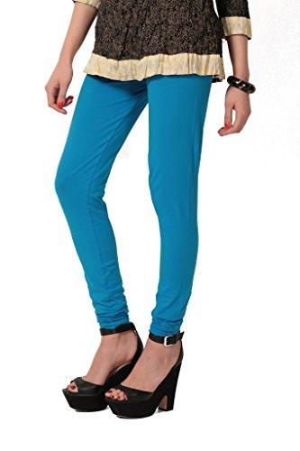 Women's solid Sky Cotton-Lycra Leggings/Churidars