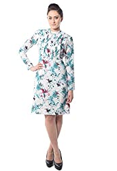 iamme Pleated floral print on white sheath dress. Made from Cambridge fabric