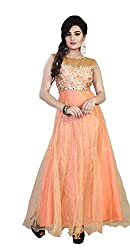 Bhoomi Creation Women's semi-stitched Orange Gown