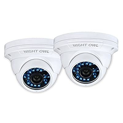 Night Owl Security 2 Pack Hi-Resolution 900 TVL Security Dome Cameras with 75-Feet of Night Vision