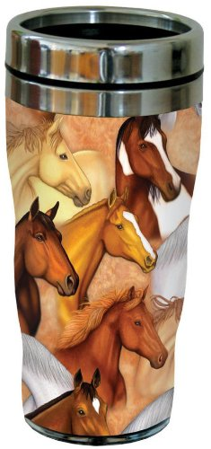 Tree-Free Greetings 77135 Horse Heads Collectible Art Sip N Go Travel Tumbler 16-Ounce Stainless Steel Multicolored