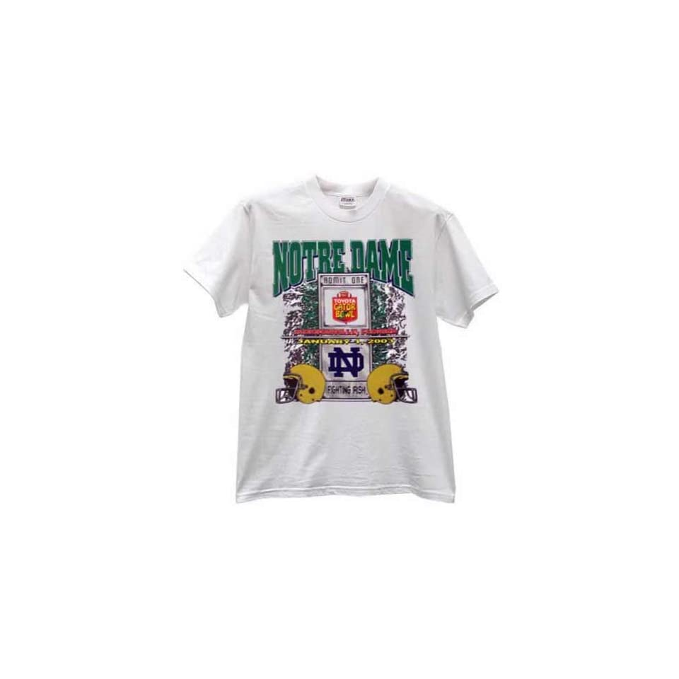 Notre Dame Fighting Irish White 2003 Gator Bowl T shirt