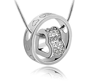 Silver Plated Inlay Crystal Rhinestone Ring Pendant For Women Ladies Lovers Drop Pendant(no necklace)