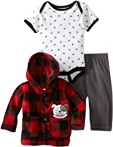 Bon Bebe Baby-boys Newborn Plaid Doggy 3 Piece Fleece Jacket And Pant Set, Red Plaid, 0-3 Months